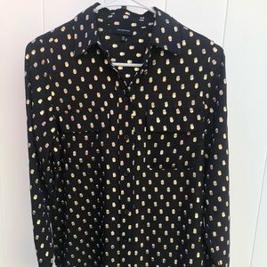 Black Blouse with Gold & White Polka Dots